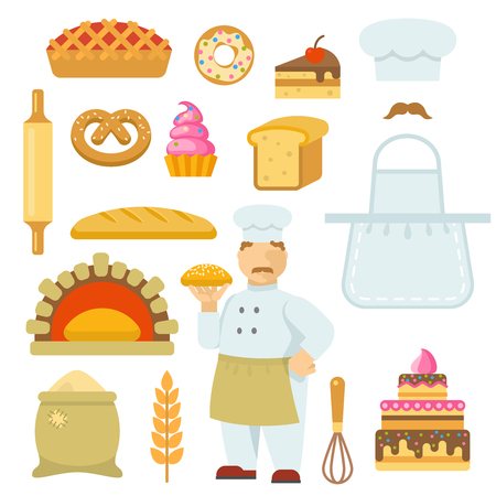 rolling bag: Bakery decorative flat icons set with chef bag of flour tools bread cake pie isolated vector illustration