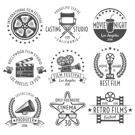 stereoscopic: Movies black white emblems set with reel chair clapper megaphone award projector and inscriptions isolated vector illustration