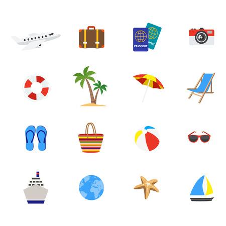 Travel decorative flat icons set with airplane cruise ship flipflops yacht longue suitcase passports isolated vector illustration