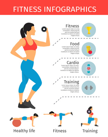 sportive: Sportive lifestyle infographics with  elements of fitness information for workout and woman in sportwear vector illustration