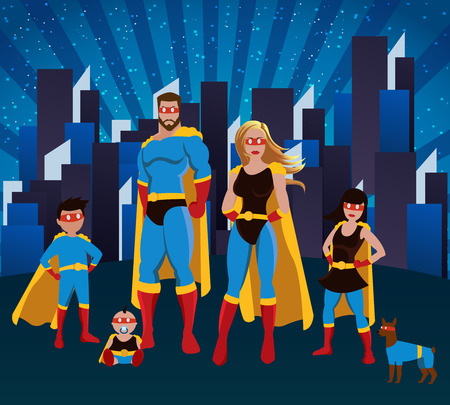 Family of superheroes poster with mother father doughter little son baby and dog posing together in the city vector illustration Illustration
