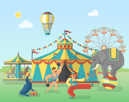 strongman: Circus performance in park poster with tent balloon strongman elephant seal clown carousel with horses vector illustration