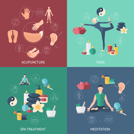 Quatre icône de couleur carré mis avec des gens l'assister sur l'acupuncture sur le yoga sur la méditation sur le spa traitement vecteur illustration Banque d'images - 56099858
