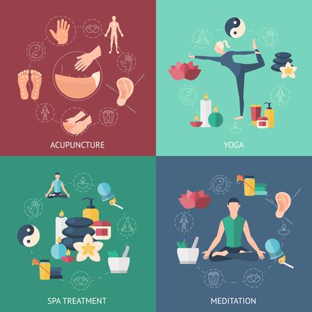 Vier vierkante gekleurde pictogrammen set met mensen die de behandelend over acupunctuur op yoga op meditatie op spa-behandeling vector illustratie