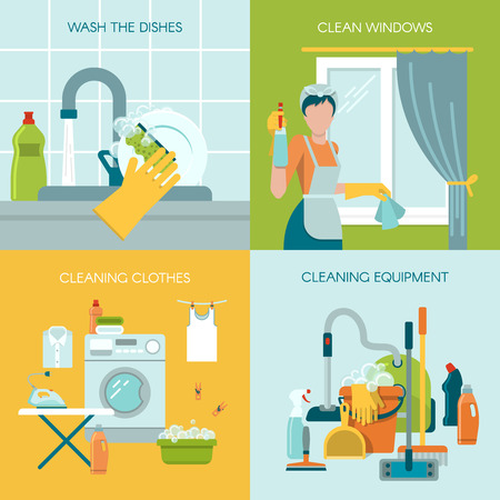 washing windows: Colored icon set with different cleaning equipment and activity like washing the dishes cleaning the windows and clothes vector illustration