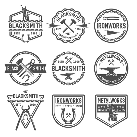 ironworks: Ironworks black white emblems with working tools blacksmith horseshoe chain and inscriptions isolated vector illustration