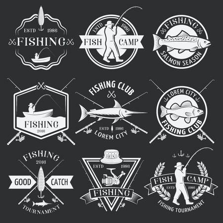 Fishing white emblems on black background with man in hat tackle boat catch inscriptions isolated vector illustration