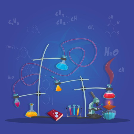 manual test equipment: Chemical experiment using test tubes and the solution at background with formulas vector illustration