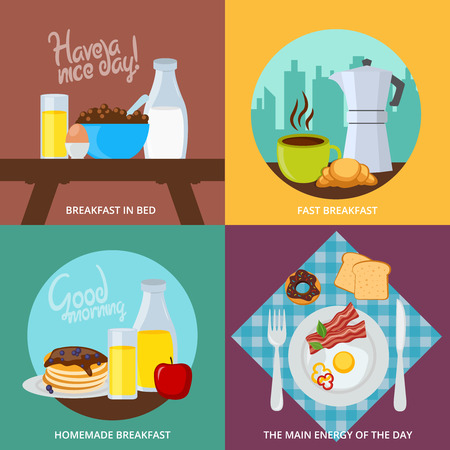 hearty: Four square icons set for different types of fast in bed  homemade and hearty breakfast vector illustration