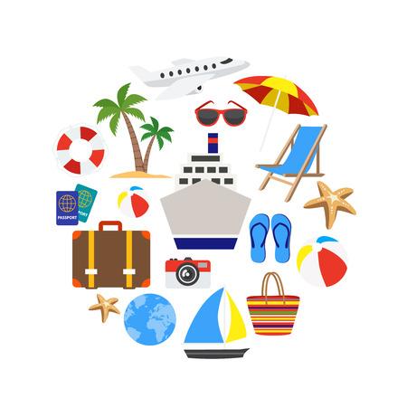 Vacanze icone decorative impostate in forma di cerchio con illustrazione vettoriale nave da crociera di palma anello-boa isolato Vettoriali
