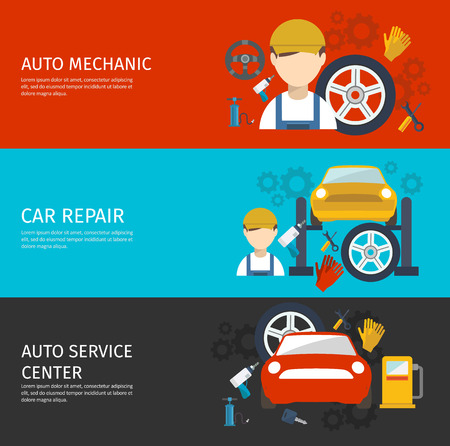 car hoist: Auto mechanical service horizontal banners set with avatar of worker tools repair of car isolated vector illustration