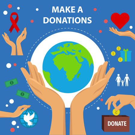humanity: Charity flat poster with female hands holding the problems of humanity and an inscription make a donation vector illustration