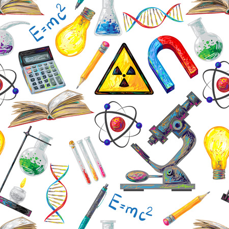 background cover: Science seamless pattern with calculator flask tube lamp dna microscope atom burner on white background vector illustration