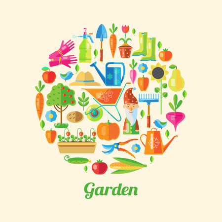 lawn gnome: Garden colored poster its many little icons with attributes a gardener in a big circle vector illustration