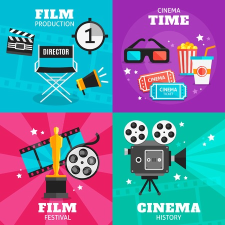 film production: Four colored square icon set with attributes of film production cinema time film festival and cinema history