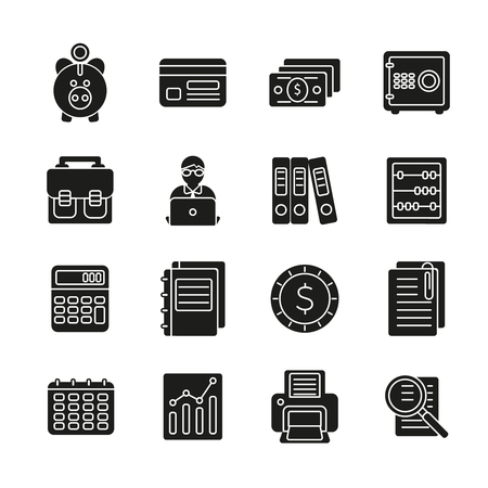 sillhouette: Accauntant black sillhouette icon set with aquipment and symbols of bookkeeping vector illustration Illustration