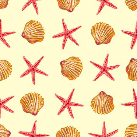dark beige: Sea elements on sand seamless pattern with red starfishs dark yellow seashells on beige background vector illustration