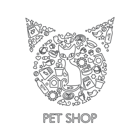 interests: Drawn poster of cat in the middle and its interests, combined to pets head shape vector illustration Illustration
