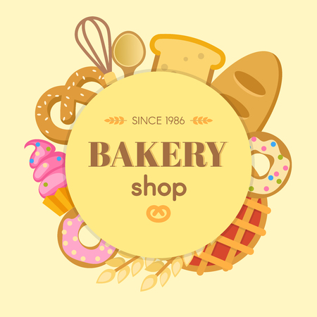 bagel: Bakery flat round composition with whisk spoon bread cupcake bagel donut wheat on beige background vector illustration