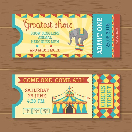 trained: Colorful tickets for circus show on wooden background with trained elephant striped tent inscriptions isolated vector illustration