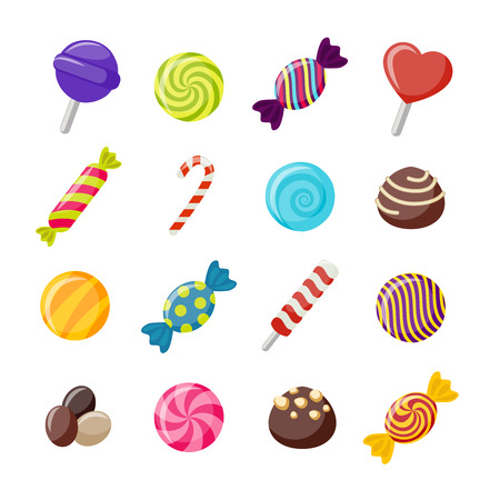 sweetmeats: Assorted candies decorative flat icons set with twisted round sweets chococlates with nuts lollipops isolated vector illustration Illustration
