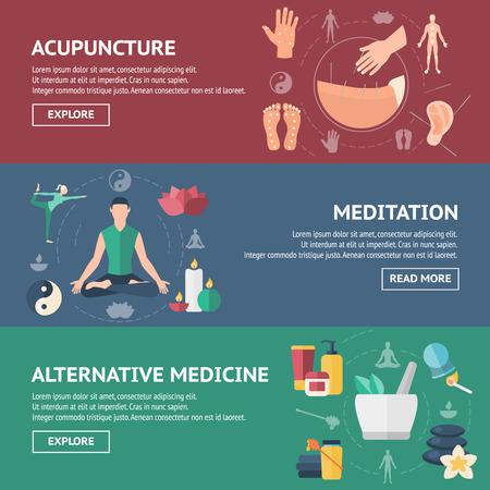 Acupunctuur banner set gekleurd met mensen en titels van acupunctuur meditatie en alternatieve geneeskunde