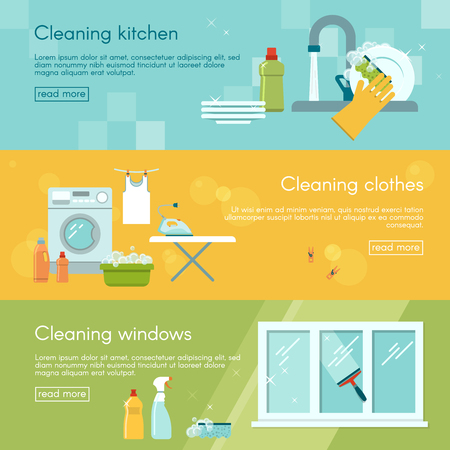 cleaning kitchen: Three horizontal banners set with different types of work in house cleaning kitchen clothes and windows vector illustration