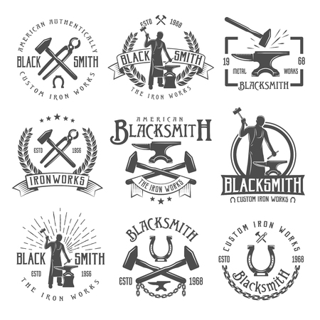 Vintage Blacksmith Labels Set Illustration