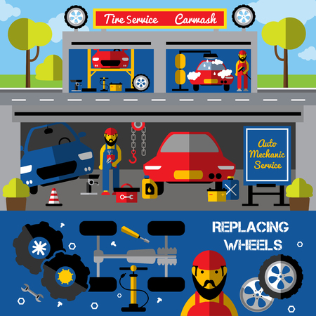 replacing: Auto centers and carwash horizontal banners with tire service and mechanical works replacing wheels isolated vector illustration Illustration