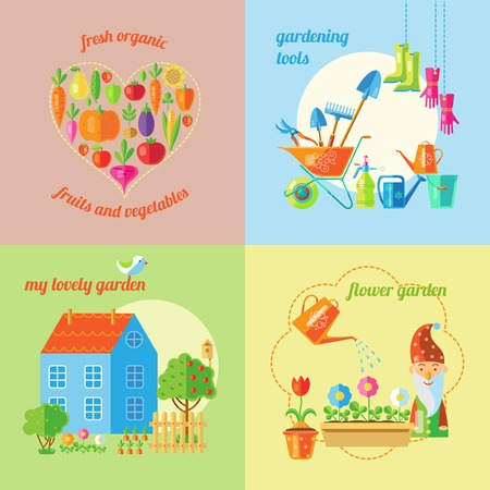 lawn gnome: Four square garden icon set with headlines fresh organic gardening tools my lovely garden and flower garden vector illustration