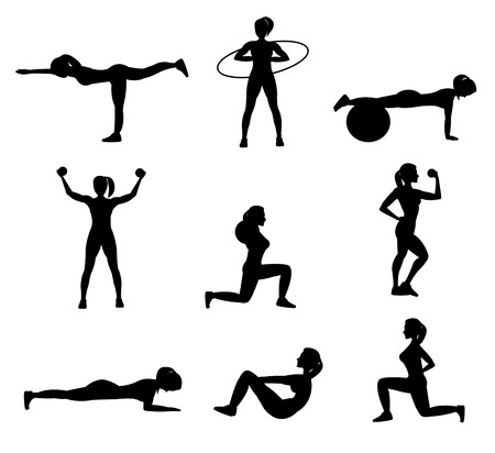 pushup: Fitness for woman flat icons set in black color with push-up stretching squat isolated vector illustration