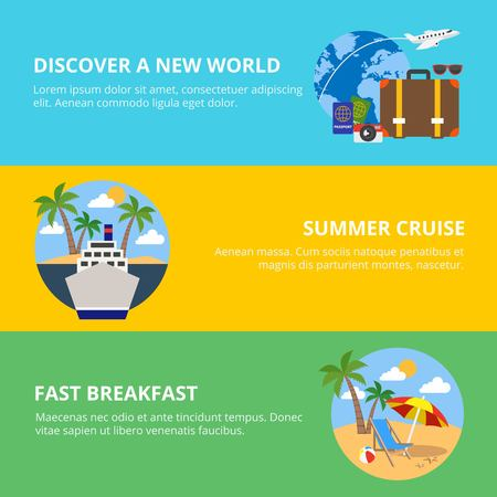 new world: Travel horizontal flat banners set with summer cruise discovery new world breakfast on beach isolated vector illustration