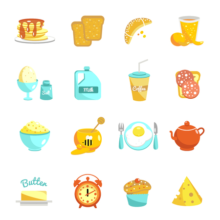 hearty: Breakfast flat icon set with description of food and drinks for a hearty breakfast snack or lunch vector illustration Illustration