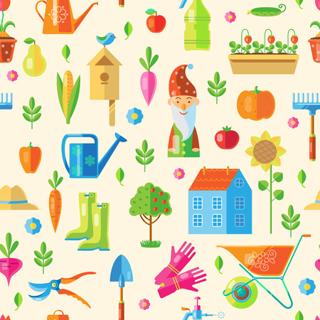 lawn gnome: Garden Seamless Pattern with many colored decorative attributes with plants and flowers isolated vector illustration