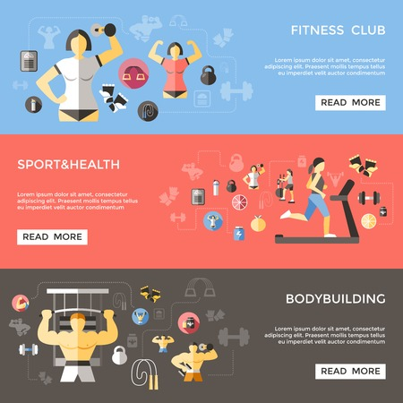 sportive: Bodybuilding horizontal banners set with sportive lifestyle fitness club workout of sportsman isolated vector illustration