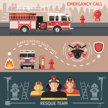 Three horizontal colored firefighter banner set with inscriptions of emergency call firefighters save lives and resque team vector illustration Illustration