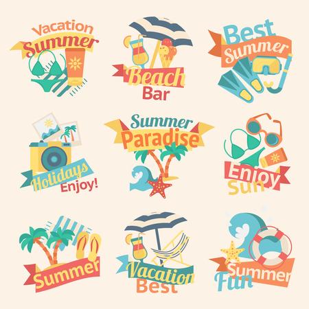 Summer Vacation Labels Set Çizim