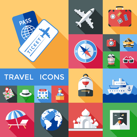 Colorful Travel Icons Set