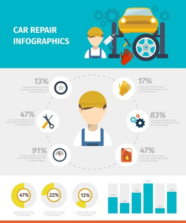 car hoist: Car repair infographics with avatar of mechanic and working tools in center diagrams statistics vector illustration Illustration