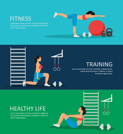 sportive: Healthy life horizontal banners set with sportive woman weights dumbbells ball ladder rings isolated vector illustration