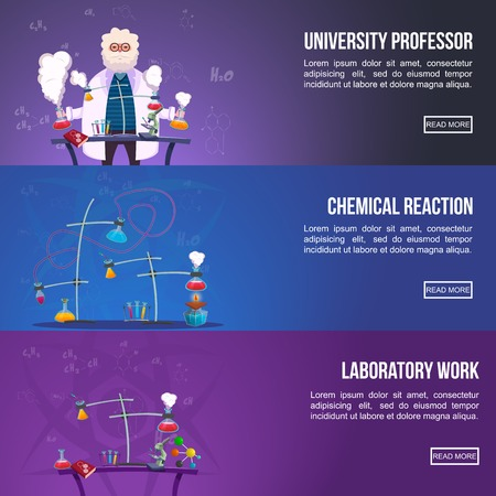 chemical reaction: Chemistry Lab Colored horizontal Banner Set with titles university professor chemical reaction and laboratory work vector illustration