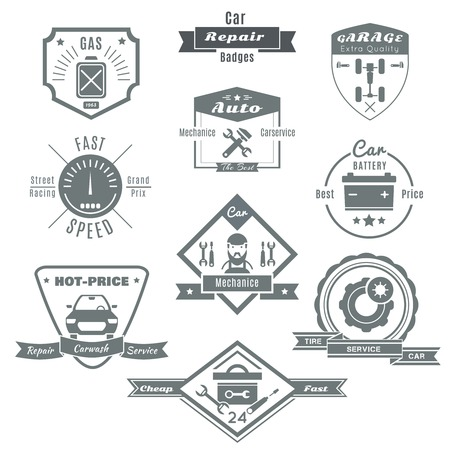chassis: Car repair black white badges with automobile chassis mechanic tools speedometer fuel battery tires isolated vector illustration Illustration