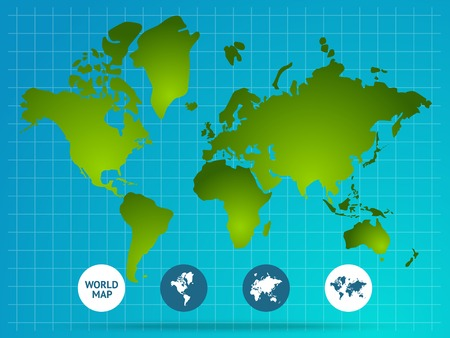 menu land: World map page of website with green continents grid buttons at bottom on blue background vector illustration