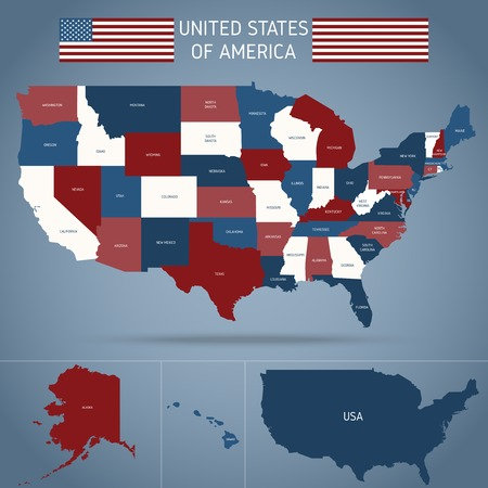 Political map of usa poster with american flag regions of country on blue background vector illustration