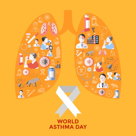 asthma: World asthma day icons set in shape of lungs with respiratory therapy on yellow background vector illustration