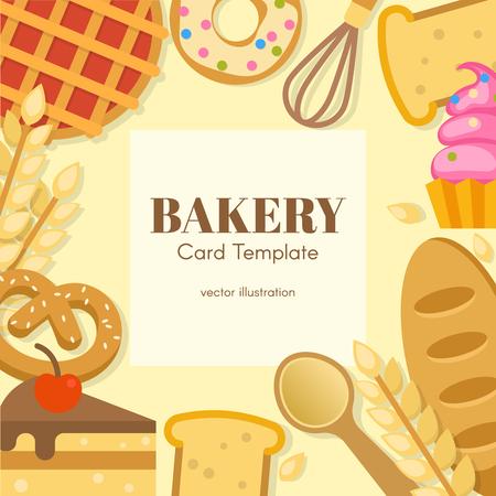 portadas de libros: Modelo de la tarjeta plana de la panadería con el lugar para la inscripción en los productos de herramientas del Centro de harina de ilustración vectorial borde