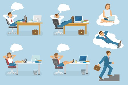 dream job: Dream job isolated icon set with people man and woman who dream and sitting on workplace vector illustration