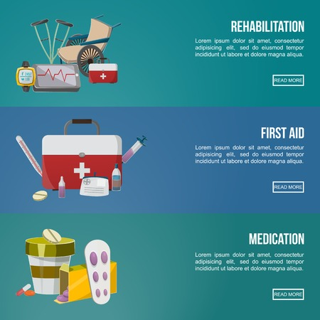 Three horizontal colored banner set on rehabilitation first aid and medication themes vector illustration