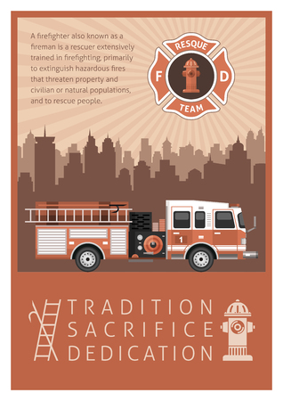 Firefighter poster in retro style printed in brown with title or slogan tradition sacrifice dedication vector illustration