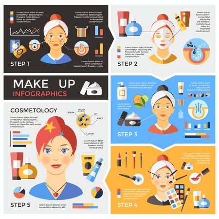 Makeup Infographic Template Ilustrace